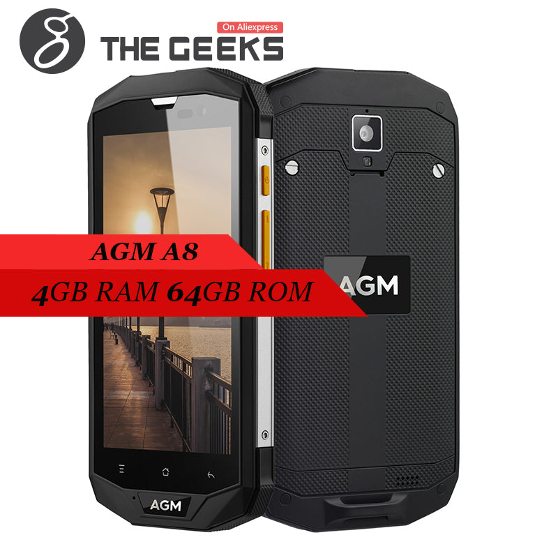 AGM A8 Android 7.0 call phone IP68 Waterproof 3/4GB+32/64GB Snapdragon 410 Quad Core 5.0 Inch HD Screen 4G Smartphone