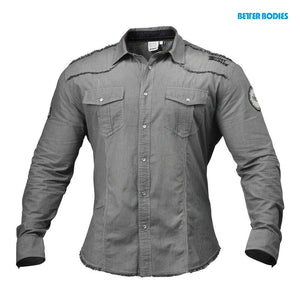 BB MENS FLEX SHIRT (Grey White/Stripe) - ملابس رياضية
