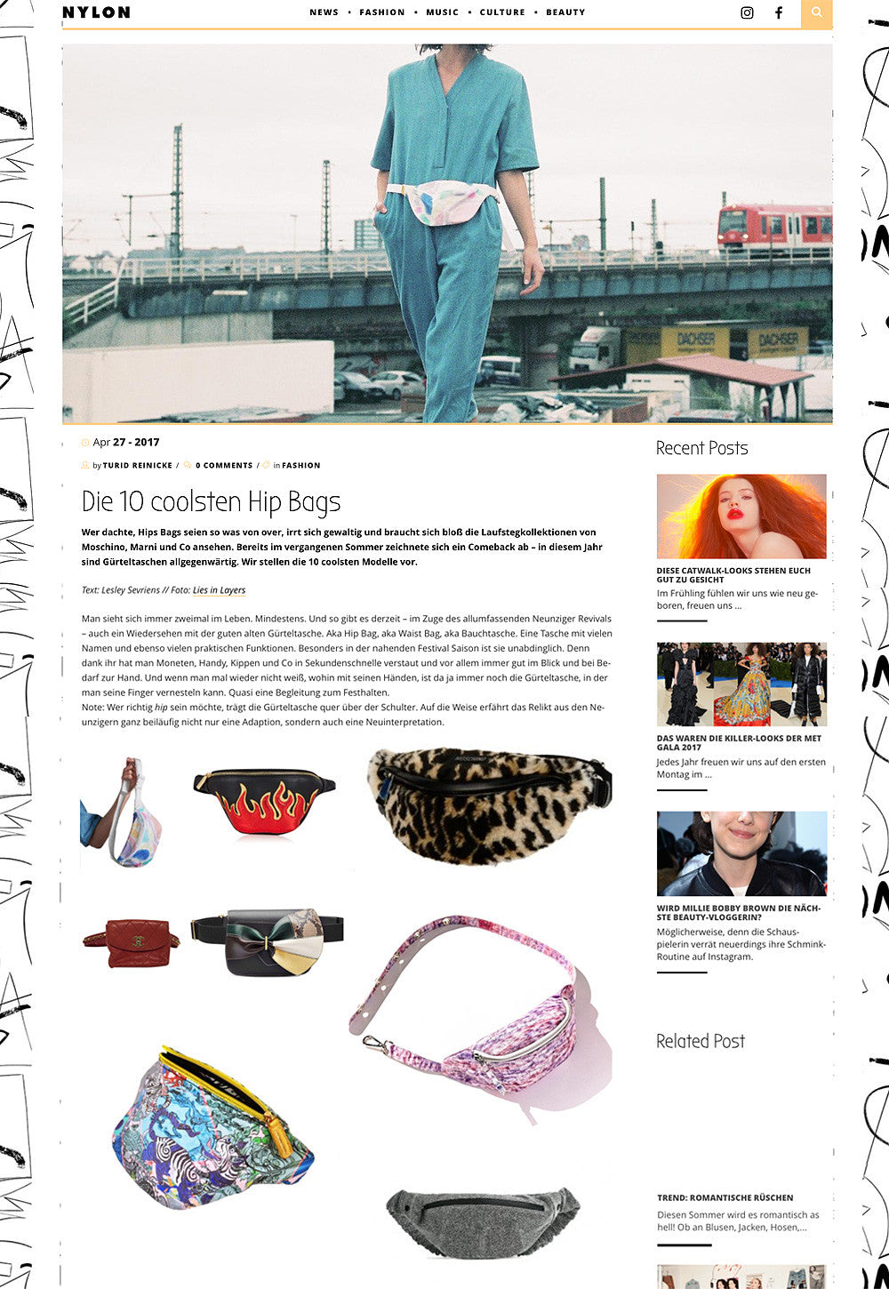 EARLY AT NYLON MAGAZINE TOP 10 COOLEST HIPBAGS