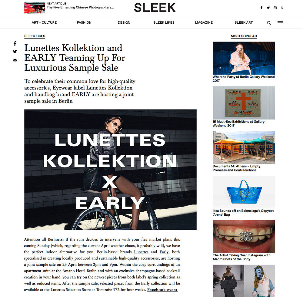 EARLY X LUNETTES KOLLEKTION SAMPLE SALE AT SLEEK MAGAZINE