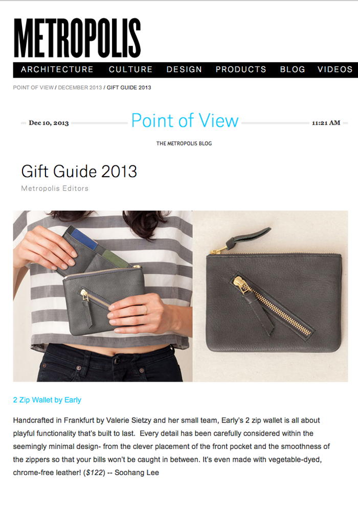 0fc26aa7d Edtior Soohang Lee chose our 2Zip Wallet for the Metropolis Magazine Gift  Guide 2013.