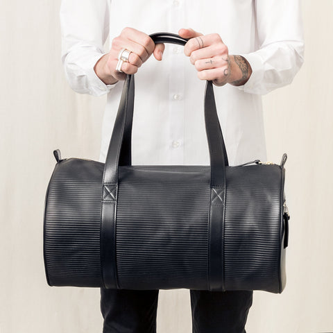 CYLINDERBAG | ECO LEATHER | BLACK STRIPED // SALE