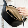 EARLY, MAX HIPBAG, BLACK, OLIVE TANNED LEATHER, MADE IN GERMANY, SUSTAINABLE DESIGN, FAIR FASHION, BUM BAG, BIG HIPBAG