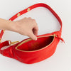 EARLY, SLIM HIPBAG, RED, BUMBAG, FANNYPACK, ECO LEATHER, MADE IN GERMANY, SUSTAINABLE DESIGN, FAIR FASHION