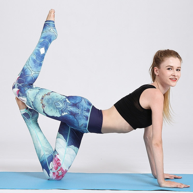 Aqua Flora Leggings