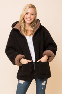 Black and Mocha Reversible Soft Sherpa Open Front Jacket Hoodie - Nofashiondeadlines