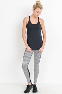 Black and White Monochrome Tiramisu Color-block Full Leggings