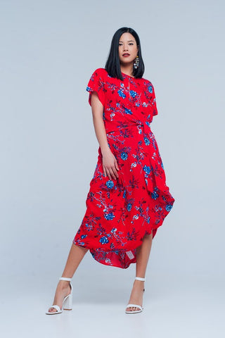 Red Tie Front Floral Midi Dress