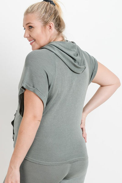 Green Plus Size Short Roll-Up Sleeves Hoodie