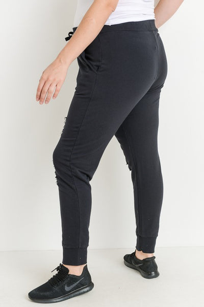 Plus Size Black Raw Cut Drawstring Joggers