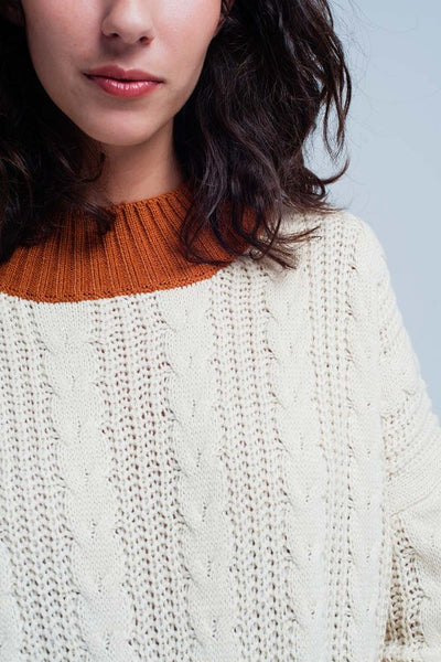 Beige Cable Knit Contrast Sweater - Nofashiondeadlines