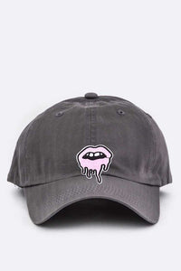 Grey Dripping Lips Embroidered Patch Cap