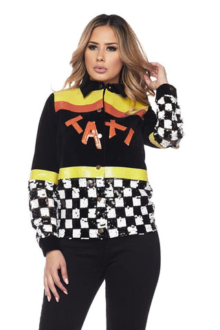 Sequin Taxi Logo Bomber Style Jacket