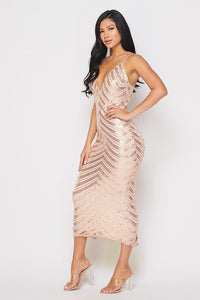 Rose Gold Sleeveless Sequin Midi Dress