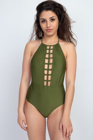 Olive Front Cutout Halter Swimsuit