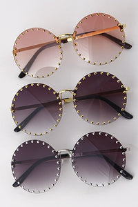 Tinted Round Studded Fashion Sunglasses