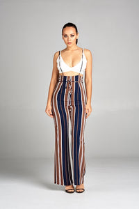 Navy Shoulder Straps Striped Pants