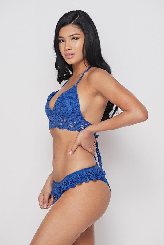 Blue Crochet Bikini Swimsuit Set