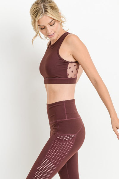 Burgundy Round Neck Star Mesh Sports Bra