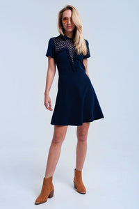 Navy Lace Detail Mini Dress