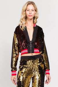 Cropped Sequin Front Track Jacket