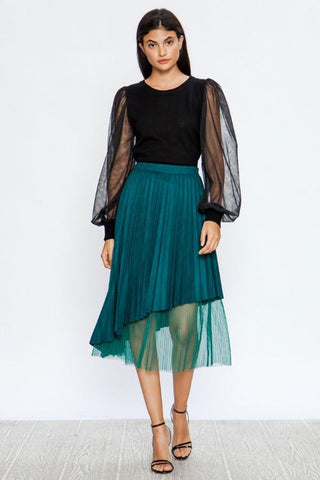 Teal Faux Suede Pleated Skirt