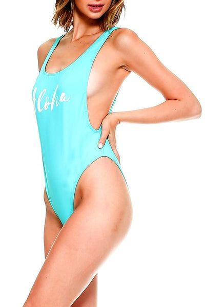 Teal Aloha High Cut Retro One Piece Swimsuit