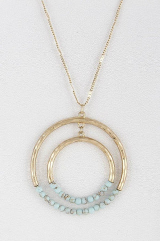 Turquoise Two Circles Beaded Long Necklace