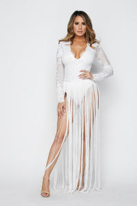 White Fringe Bottom Maxi Dress