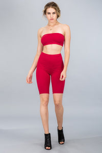 Red Tube Biker Short Set