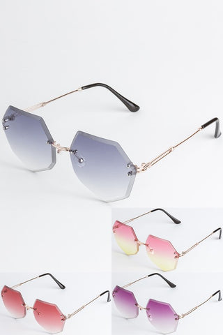 Octagon Shaped Tinted Fashion Sunglasses