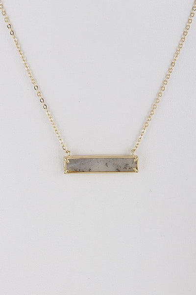 Grey Rectangle Opulent Stone Necklace