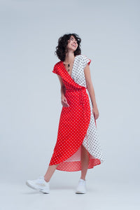 Red Polka Dot Wrap Dress