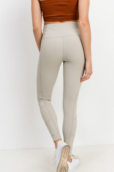 Sand High Waist Ribbed Leggings