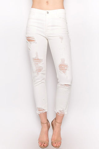 Off White Distressed Denim Pants