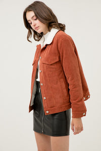 Cinnamon Fleece Lined Corduroy Jacket