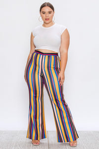 Plus Size Striped Print Pants