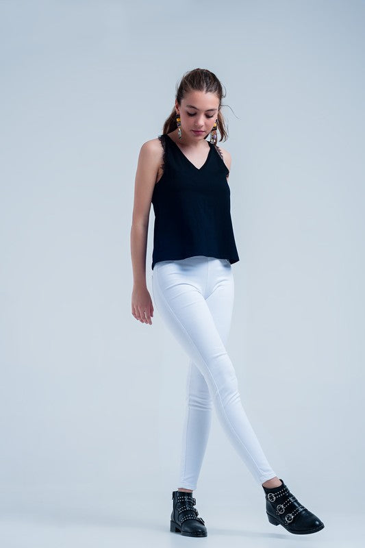 White Jeggings with Pockets