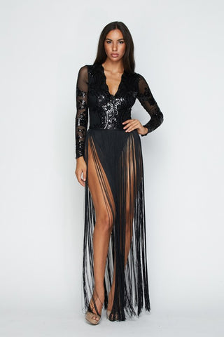 Black Fringe Bottom Maxi Dress