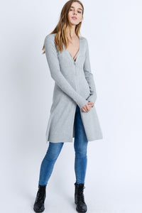 Heather Grey Long-line Ribbed Cardigan