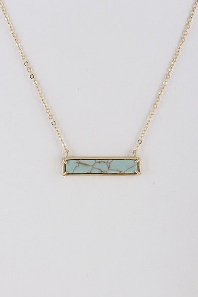 Turquoise Rectangle Opulent Stone Necklace