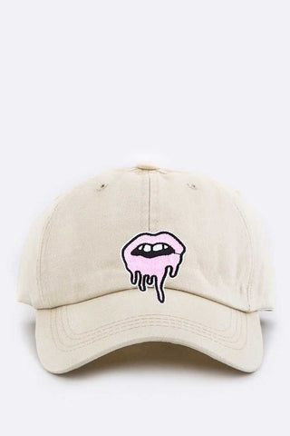 Beige Dripping Lips Embroidered Patch Cap