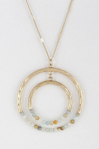 Mint Two Circles Beaded Long Necklace