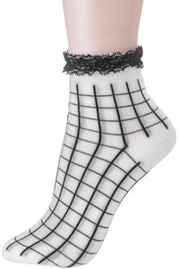 White Grid Print Socks