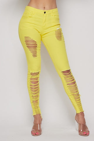 Yellow Skinny Distressed Jeans