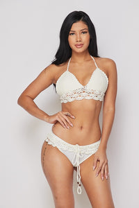 White Crochet Bikini Swimsuit Set