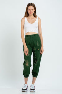Olive Distressed Cargo Style Jogger Pants