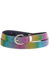 Rainbow Rhinestone Fashion Belt