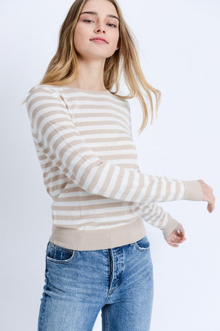 Oatmeal Striped Knit Top
