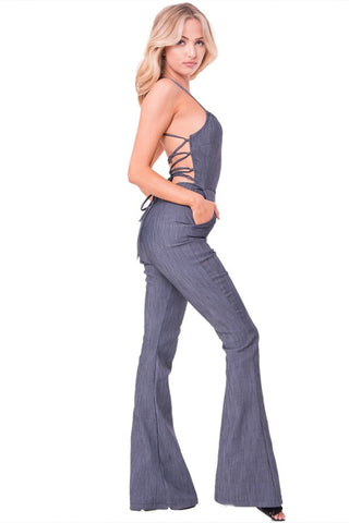 Wide Leg Open Back Denim Jumpsuit